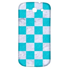 Square1 White Marble & Turquoise Colored Pencil Samsung Galaxy S3 S Iii Classic Hardshell Back Case by trendistuff