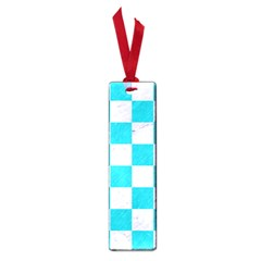 Square1 White Marble & Turquoise Colored Pencil Small Book Marks by trendistuff