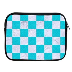 Square1 White Marble & Turquoise Colored Pencil Apple Ipad 2/3/4 Zipper Cases by trendistuff