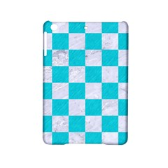 Square1 White Marble & Turquoise Colored Pencil Ipad Mini 2 Hardshell Cases by trendistuff