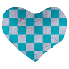 Square1 White Marble & Turquoise Colored Pencil Large 19  Premium Flano Heart Shape Cushions by trendistuff