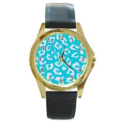 Skin5 White Marble & Turquoise Colored Pencil (r) Round Gold Metal Watch by trendistuff