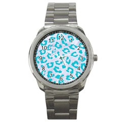 Skin5 White Marble & Turquoise Colored Pencil Sport Metal Watch by trendistuff