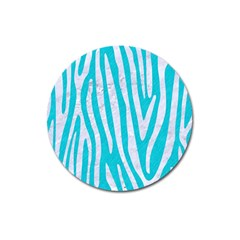 Skin4 White Marble & Turquoise Colored Pencil (r) Magnet 3  (round) by trendistuff