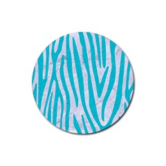 Skin4 White Marble & Turquoise Colored Pencil Rubber Round Coaster (4 Pack)  by trendistuff