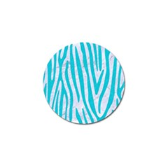 Skin4 White Marble & Turquoise Colored Pencil Golf Ball Marker (4 Pack) by trendistuff