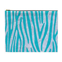 Skin4 White Marble & Turquoise Colored Pencil Cosmetic Bag (xl) by trendistuff