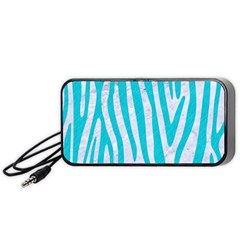 Skin4 White Marble & Turquoise Colored Pencil Portable Speaker by trendistuff