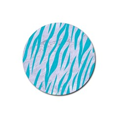 Skin3 White Marble & Turquoise Colored Pencil (r) Rubber Coaster (round)  by trendistuff