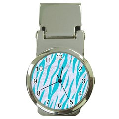 Skin3 White Marble & Turquoise Colored Pencil (r) Money Clip Watches by trendistuff