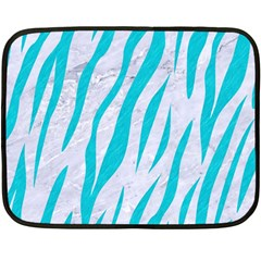 Skin3 White Marble & Turquoise Colored Pencil (r) Double Sided Fleece Blanket (mini)  by trendistuff