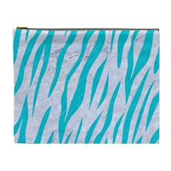 Skin3 White Marble & Turquoise Colored Pencil (r) Cosmetic Bag (xl) by trendistuff