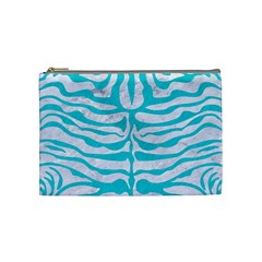 Skin2 White Marble & Turquoise Colored Pencil (r) Cosmetic Bag (medium)  by trendistuff