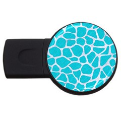Skin1 White Marble & Turquoise Colored Pencil (r) Usb Flash Drive Round (4 Gb) by trendistuff
