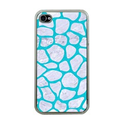 Skin1 White Marble & Turquoise Colored Pencil Apple Iphone 4 Case (clear) by trendistuff