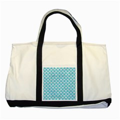Scales3 White Marble & Turquoise Colored Pencil (r) Two Tone Tote Bag by trendistuff