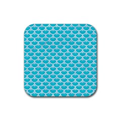 Scales3 White Marble & Turquoise Colored Pencil Rubber Square Coaster (4 Pack)  by trendistuff