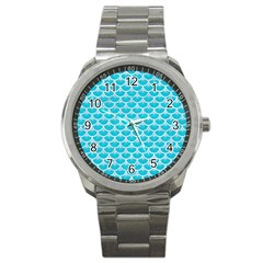 Scales3 White Marble & Turquoise Colored Pencil Sport Metal Watch by trendistuff