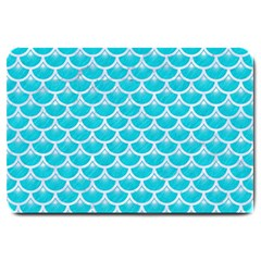Scales3 White Marble & Turquoise Colored Pencil Large Doormat  by trendistuff