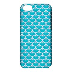Scales3 White Marble & Turquoise Colored Pencil Apple Iphone 5c Hardshell Case