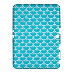 Scales3 White Marble & Turquoise Colored Pencil Samsung Galaxy Tab 4 (10 1 ) Hardshell Case  by trendistuff