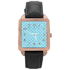 Scales2 White Marble & Turquoise Colored Pencil (r) Rose Gold Leather Watch  by trendistuff