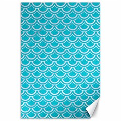 Scales2 White Marble & Turquoise Colored Pencil Canvas 12  X 18   by trendistuff