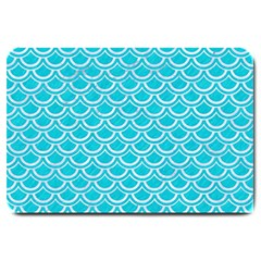 Scales2 White Marble & Turquoise Colored Pencil Large Doormat  by trendistuff