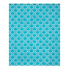 Scales2 White Marble & Turquoise Colored Pencil Shower Curtain 60  X 72  (medium)  by trendistuff
