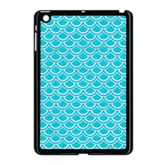 Scales2 White Marble & Turquoise Colored Pencil Apple Ipad Mini Case (black) by trendistuff