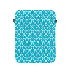 Scales2 White Marble & Turquoise Colored Pencil Apple Ipad 2/3/4 Protective Soft Cases by trendistuff