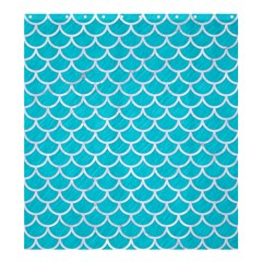 Scales1 White Marble & Turquoise Colored Pencil Shower Curtain 66  X 72  (large)  by trendistuff