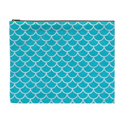 Scales1 White Marble & Turquoise Colored Pencil Cosmetic Bag (xl) by trendistuff