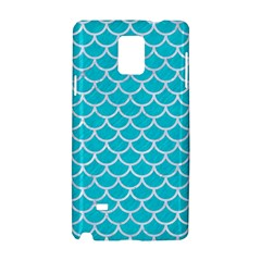 Scales1 White Marble & Turquoise Colored Pencil Samsung Galaxy Note 4 Hardshell Case by trendistuff