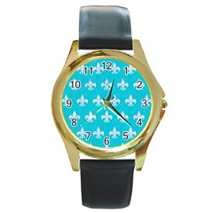 Royal1 White Marble & Turquoise Colored Pencil (r) Round Gold Metal Watch by trendistuff