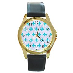 Royal1 White Marble & Turquoise Colored Pencil Round Gold Metal Watch by trendistuff