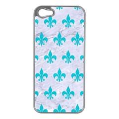 Royal1 White Marble & Turquoise Colored Pencil Apple Iphone 5 Case (silver) by trendistuff