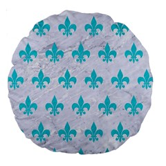 Royal1 White Marble & Turquoise Colored Pencil Large 18  Premium Round Cushions by trendistuff