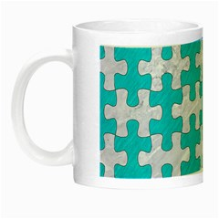 Puzzle1 White Marble & Turquoise Colored Pencil Night Luminous Mugs by trendistuff