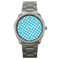 Houndstooth2 White Marble & Turquoise Colored Pencil Sport Metal Watch by trendistuff