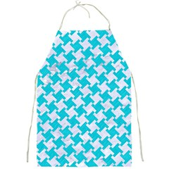 Houndstooth2 White Marble & Turquoise Colored Pencil Full Print Aprons by trendistuff