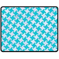Houndstooth2 White Marble & Turquoise Colored Pencil Fleece Blanket (medium)  by trendistuff