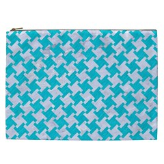 Houndstooth2 White Marble & Turquoise Colored Pencil Cosmetic Bag (xxl)  by trendistuff