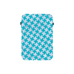 Houndstooth2 White Marble & Turquoise Colored Pencil Apple Ipad Mini Protective Soft Cases by trendistuff