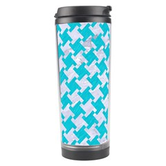 Houndstooth2 White Marble & Turquoise Colored Pencil Travel Tumbler by trendistuff