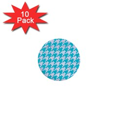 Houndstooth1 White Marble & Turquoise Colored Pencil 1  Mini Buttons (10 Pack)  by trendistuff