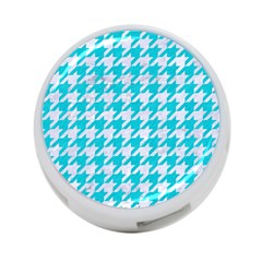 Houndstooth1 White Marble & Turquoise Colored Pencil 4 Port Usb Hub (two Sides)  by trendistuff