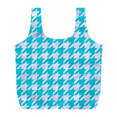 Houndstooth1 White Marble & Turquoise Colored Pencil Full Print Recycle Bags (l)  by trendistuff
