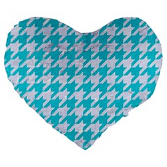 Houndstooth1 White Marble & Turquoise Colored Pencil Large 19  Premium Flano Heart Shape Cushions by trendistuff
