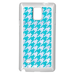 Houndstooth1 White Marble & Turquoise Colored Pencil Samsung Galaxy Note 4 Case (white) by trendistuff